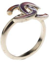 Chanel - Cc Multicolored Enamel Tone Ring - Lyst