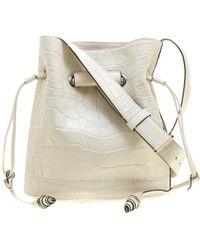 Lancel - Off White Croc Embossed Leather Drawstring Bucket Bag - Lyst