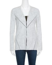 Elie Tahari - Off White And Blue Textured Mesh Insert Mixed Media Leeann Jacket Xs - Lyst