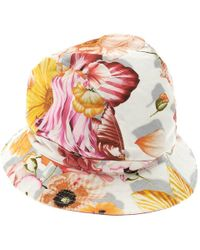 Ferragamo - Floral Printed Cotton Bucket Hat - Lyst