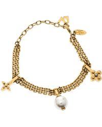 Louis Vuitton - Damier Monogram Faux Pearl Tone Chain Link Charm Bracelet - Lyst