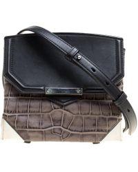 Alexander Wang - Black/ Croc Embossed And Leather Marion Shoulder Bag - Lyst