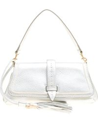 Lancel - Metallic Silver Leather Clutch - Lyst