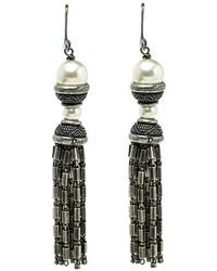 Dior - Faux Pearl Tone Tassel Dangle Hook Earrings - Lyst