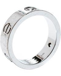 Cartier Love 3 Diamonds 18k White Gold Band Ring Size 56 - Metallic