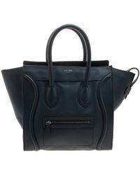 Céline - Navy Leather Mini Luggage Tote - Lyst