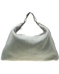 8eb08b52e Bottega Veneta - Grey/brown Intrecciato Leather And Crocodile Trim Maxi  Hobo - Lyst