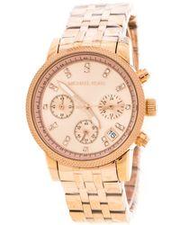 4e4de666b634 Michael Kors - Rose Plated Stainless Steel Ritz Mk6077 Women s Wristwatch  37 Mm - Lyst