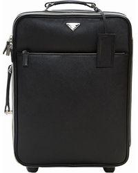Prada - Saffiano Leather Trolley Rolling Luggage - Lyst