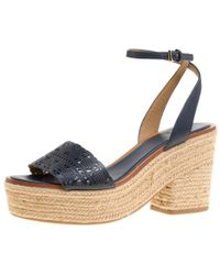 6b35f17f366d Tory Burch - Navy Laser Cut Leather Roselle Espadrille Platform Sandals -  Lyst