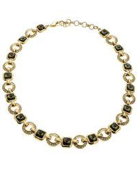 Dior - Crystal Tone Geometric Link Necklace - Lyst