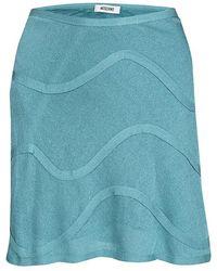 8da2f17b7e Moschino - Blue Knit Wave Pattern Mini Skirt M - Lyst