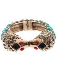 Chanel - Cc Cabochon Crystal Detailed Lion Head Hinged Cuff Bracelet - Lyst