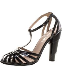 Chanel - Patent Leather And Pvc Architectural T-strap Sandals - Lyst