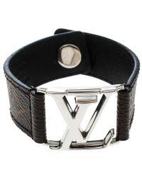 Louis Vuitton - Hockenheim Monogram Canvas Silver Tone Bracelet - Lyst