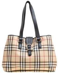 Burberry Medium Banner House Check Leather Tote - Black in Black - Lyst 7189499b91