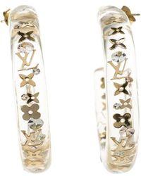 Louis Vuitton - Clear Resin Monogram Inclusion Tone Hoop Earrings - Lyst