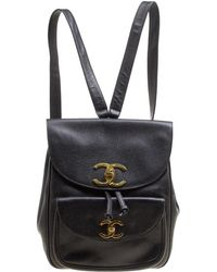 ba4679b5feee8d Chanel Black Quilted Lambskin Leather Classic Backpack in Black - Lyst