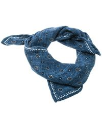 Brunello Cucinelli - Indigo Printed And Plaid Checked Silk Reversible Pocket Square - Lyst