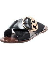 Tory Burch - Black Leather Thame Logo Detail Criss Cross Sandals Size 39 - Lyst