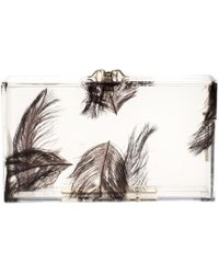 Charlotte Olympia - Clear Feather Print Perspex Pandora Classic Box Clutch - Lyst