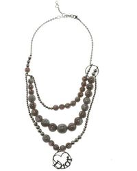 Dior - Bead Silver Tone Multichain Necklace - Lyst