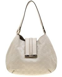 b9c8d2f769d9 Gucci - Off White Ssima Leather Small New Ladies Vintage Web Hobo - Lyst