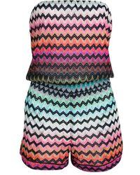 0fa9b98cc4 Missoni - Mare Chevron Pattern Knit Strapless Sirmione Playsuit S - Lyst