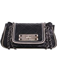 a1a990cb37d649 Chanel 2004-2005 Black Leather Top Handle Frame Bag in Black - Lyst