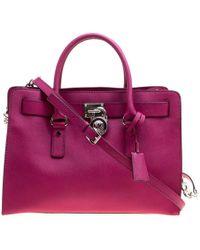 MICHAEL Michael Kors - Magenta Leather East West Hamilton Top Handle Bag - Lyst