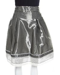 Chanel - Grey And White Lace Trim Pleated Organza Skirt Xl - Lyst