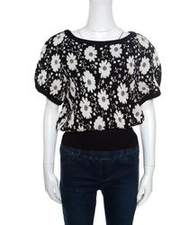 Chanel - Monochrome Floral Jacquard Knit Ribbed Trim Short Sleeve Top M - Lyst