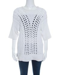 Thakoon - Off Chunky Perforated Knit Rib Trim Short Sleeve Top M - Lyst
