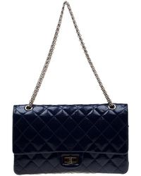 1a3b8104d940f2 Chanel - Blue Quilted Patent Leather Reissue 227 Flap Bag - Lyst