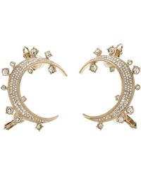 Chanel - Cc Crystal Tone Moon Clip On Cuff Earrings - Lyst
