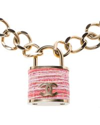 Chanel - Tweed Cc Oversized Padlock Gold Tone Chain Necklace - Lyst
