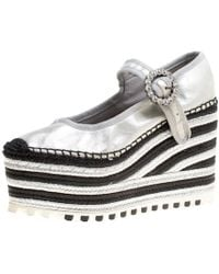 9548af744e1 Marc Jacobs - Metallic Leather Suzi Crystal Embellished Brooch Mary Jane  Espadrille Platforms - Lyst