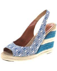 Missoni - Two Tone Knit Fabric Espadrille Wedge Slingback Sandals - Lyst