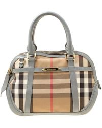 c23bdb368f2 Burberry - House Check Fabric And Leather Orchard Bowler Bag - Lyst