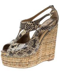 e6e5ecb07 Dior - Beige Python Leather Eden Peep Toe Ankle Strap Straw Wedge Sandals  Size 38 -