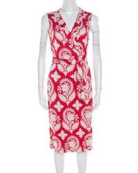 4629d0f70be Diane von Furstenberg - Red Floral Printed New Yahzi Short Wrap Dress L -  Lyst