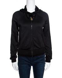 Roberto Cavalli - Gym Knit Faux Leather Trim Hooded Sweatshirt S - Lyst