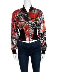 Roberto Cavalli - Floral And Snake Printed Satin Bomber Jacket S - Lyst