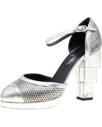 Chanel - Metallic Silver Laser Cut Leather Cc Platform Sandals Size 39.5 - Lyst