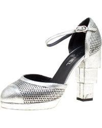 Chanel - Silver Laser Cut Leather Cc Platform Sandals - Lyst