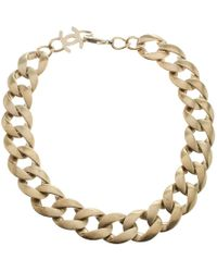 Chanel - Gold Tone Chain Link Choker Necklace - Lyst