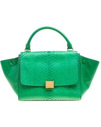 Céline - Python And Leather Small Trapeze Bag - Lyst