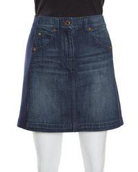 Louis Vuitton - Indigo Faded Effect Denim Side Paneled Mini Skirt S - Lyst