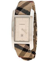 Burberry - Silver White Stainless Steel Heritage Bu1050 Women's Wristwatch 25 Mm - Lyst