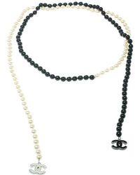 Chanel - Faux Pearl & Black Beads String Wrap Around Necklace - Lyst